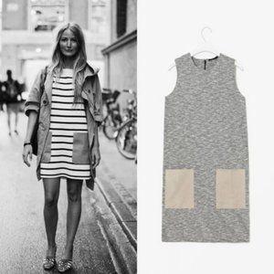 COS Leather Pocket Shift Sleeveless Marled Dress
